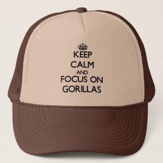 Håll lugn och fokusera på gorillor keps