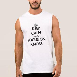 Håll lugn och fokusera på knoppar t-shirts utan ärmar