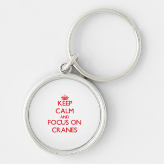 Håll lugn och fokusera på kranar rund silverfärgad nyckelring