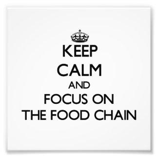 Håll lugn och fokusera på maten kedjar fotografi