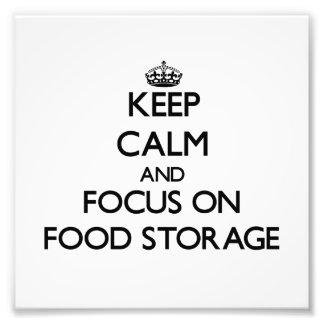 Håll lugn och fokusera på matlagring fotografiska tryck