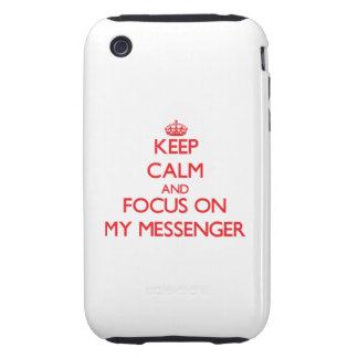 Håll lugn och fokusera på min budbärare iPhone 3 tough covers