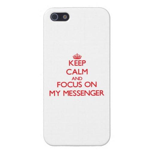 Håll lugn och fokusera på min budbärare iPhone 5 cover