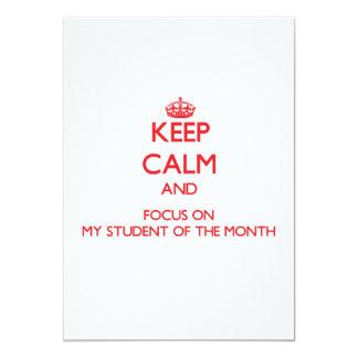 Håll lugn och fokusera på min student av månaden individuella inbjudningskort