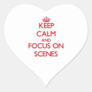 Håll lugn och fokusera på platser hjärtformade klistermärken