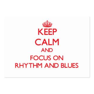 Håll lugn och fokusera på rytm och deppighet set av breda visitkort