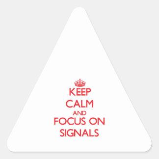 Håll lugn och fokusera på Signals Triangle Stickers