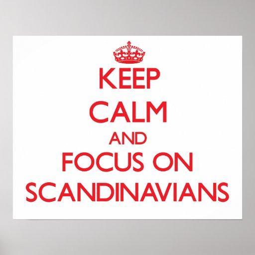 Håll lugn och fokusera på skandinav affischer