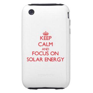 Håll lugn och fokusera på sol- energi iPhone 3 tough skydd