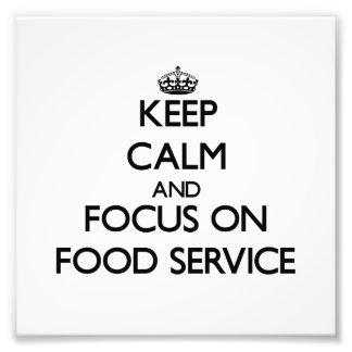 Håll lugn och fokusera på tjänste- mat foton