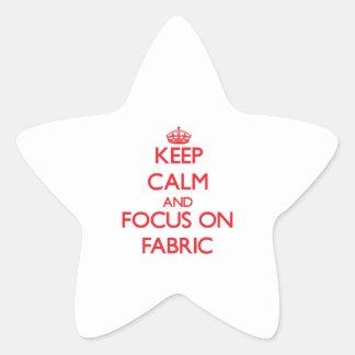 Håll lugn och fokusera på tyg stjärnformat klistermärke