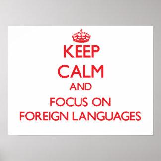 Håll lugn och fokusera på utländska språk poster