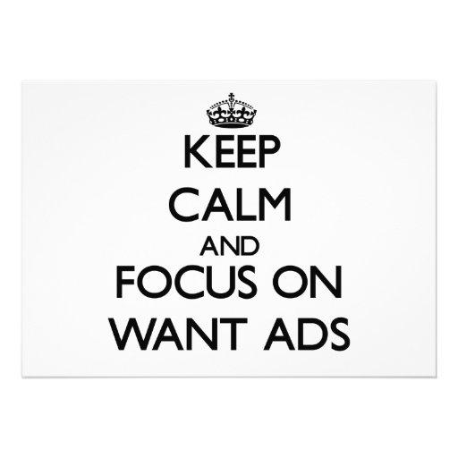 Håll lugn och fokusera på Want annonser Inbjudningar