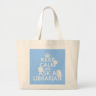 Håll lugn och fråga en bibliotekarie tygkasse