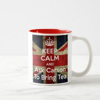 Håll lugn och fråga för Tea Två-Tonad Mugg