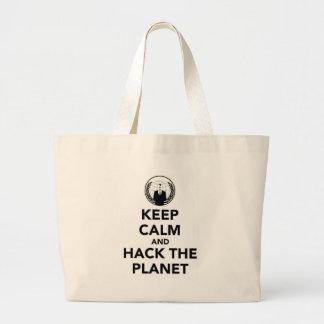 Håll lugn och hacka planet jumbo tygkasse