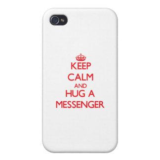Håll lugn och krama en budbärare iPhone 4 fodral