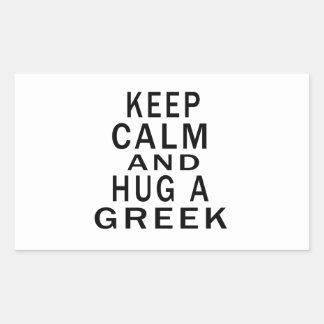 Håll lugn och krama en grek retangel klistermärke