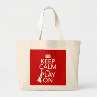 Håll lugn och leka på (gitarren) (någon färg) jumbo tygkasse