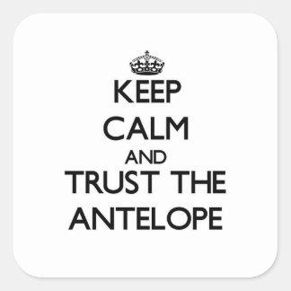 Håll lugn och lita på antilopet fyrkantigt klistermärke