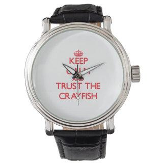 Håll lugn och lita på kräftan armbandsur