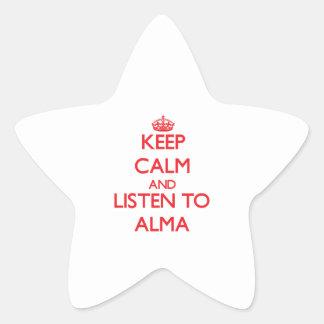 Håll lugn och lyssna till Alma Stjärnformat Klistermärke