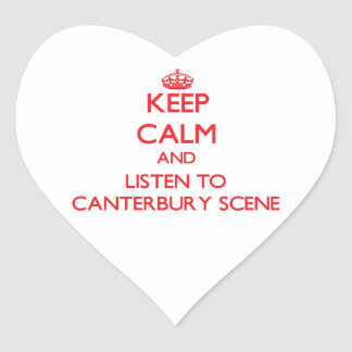Håll lugn och lyssna till den CANTERBURY PLATSEN Hjärtformade Klistermärken
