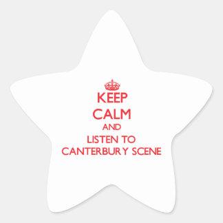Håll lugn och lyssna till den CANTERBURY PLATSEN Stjärnformade Klistermärken