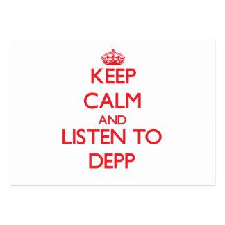 Håll lugn och lyssna till Depp Set Av Breda Visitkort