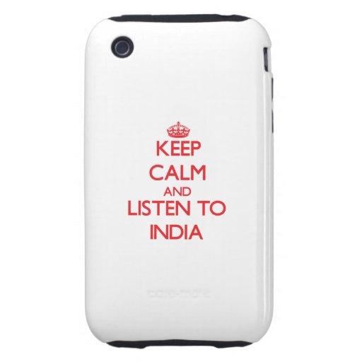 Håll lugn och lyssna till Indien iPhone 3 Tough Fodraler