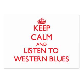 Håll lugn och lyssna till WESTERN DEPPIGHET Set Av Breda Visitkort