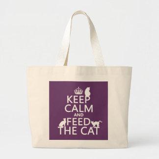 Håll lugn och mata katten tote bags