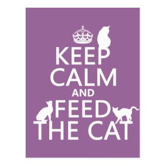 Håll lugn och mata katten vykort