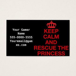 Håll lugn och rädda princessen visitkortar