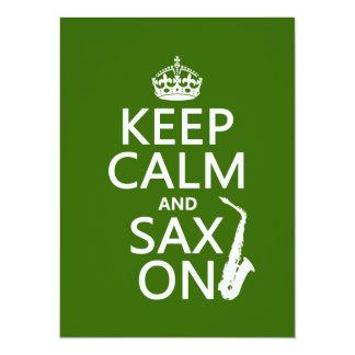 Håll lugn och saxen (saxofon) på (några färg) 14 x 19,5 cm inbjudningskort