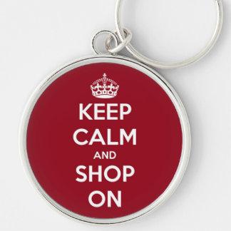 Håll lugn och shoppa på rött och vit rund silverfärgad nyckelring