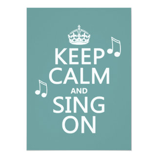 Håll lugn och sjunga på - alla färger 14 x 19,5 cm inbjudningskort