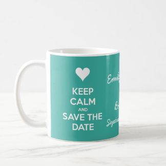 Håll lugn och spara daterakrickapersonligen kaffemugg
