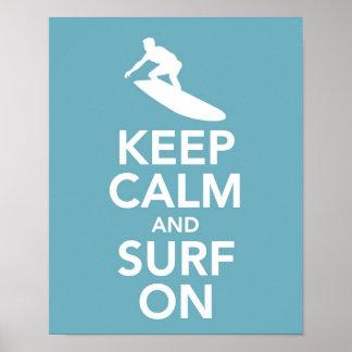 Håll lugn och surfa på tryck/affischen poster
