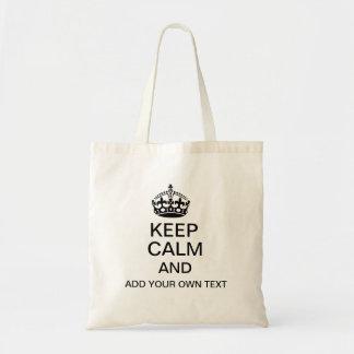 Håll lugn och tillfoga din egna text budget tygkasse