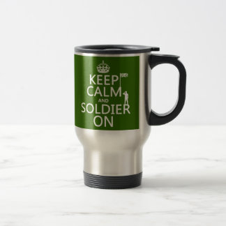 Håll lugn och tjäna som soldat på (UK-flagga) Resemugg
