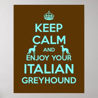 Håll lugn och tyck om din italienska vinthund poster