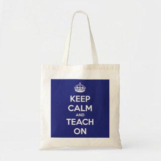 Håll lugn och undervisa på blåttbudgettoto tygkasse
