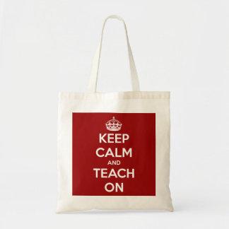 Håll lugn och undervisa på röd budget- toto budget tygkasse