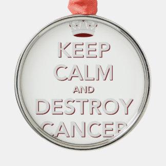 Håll lugnat & förstör cancer 2 julgransprydnad metall