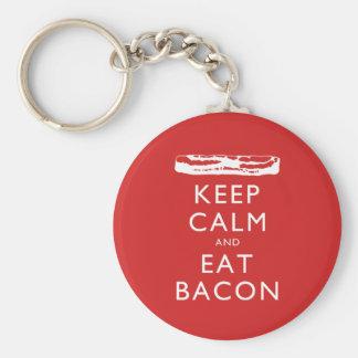 Håll lugnat och äta bacon rund nyckelring