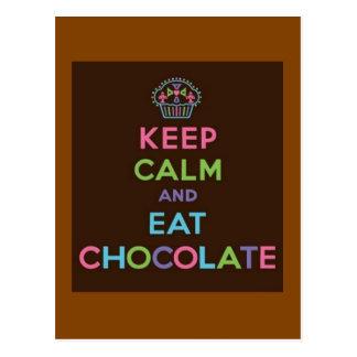 Håll lugnat och äta choklad vykort