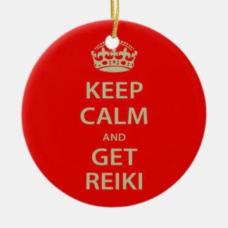 Håll lugnat och få Reiki Julgransprydnad Keramik