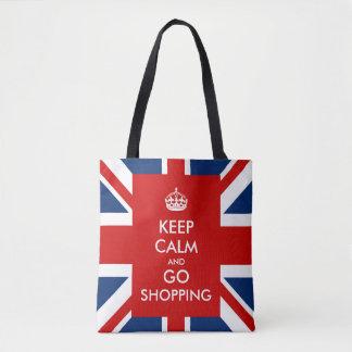 Håll lugnat och gå att shoppa brittUK-flagga Tygkasse