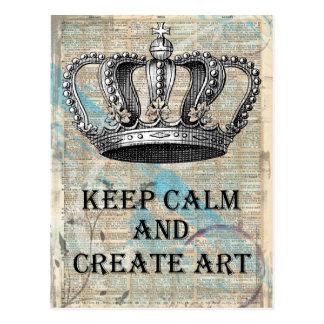 Håll lugnat och skapa designen för vykort